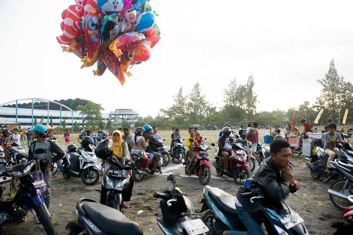 motorcycle parking and balloons