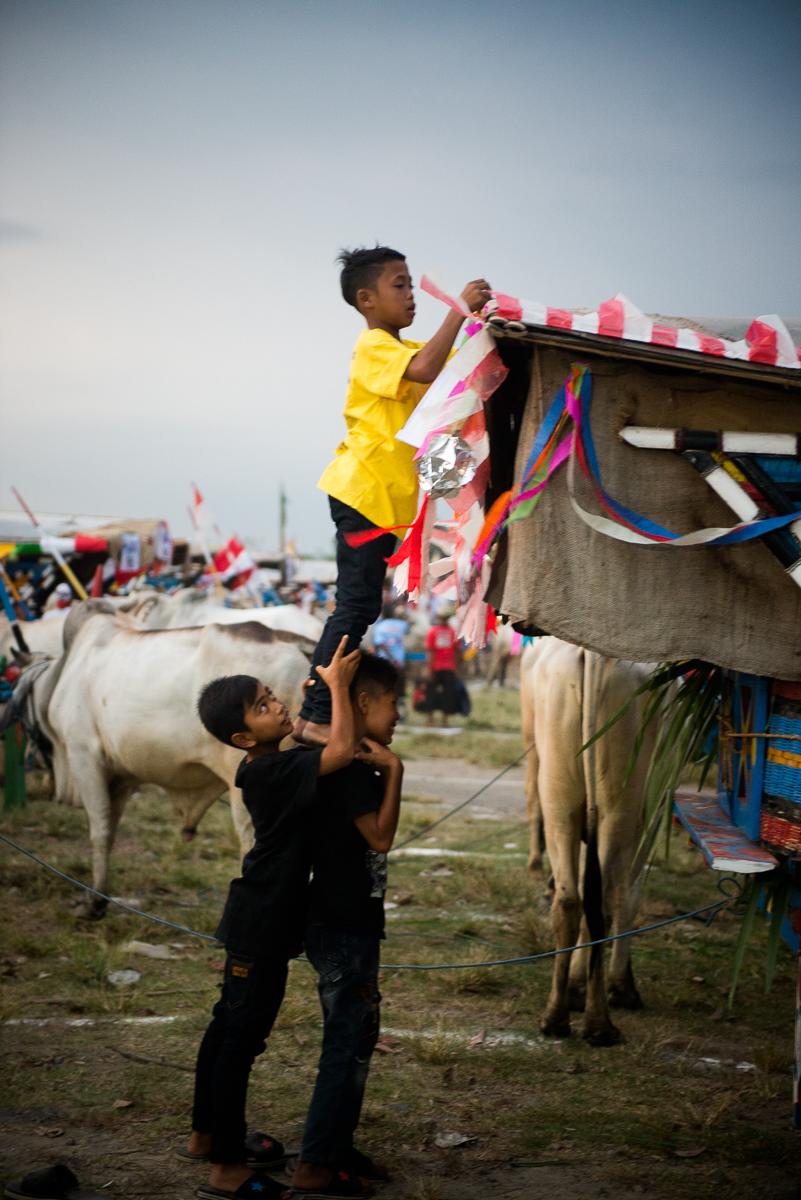 friends help a boy reach something on a cart